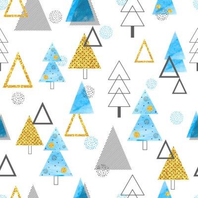 Tapeta Bezszwowy choinka wzór w retro stylu. Tło wakacje wektor w kolorach złotym i niebieskim.