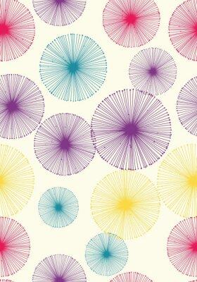 Tapeta Bezszwowy dandelion wzór z beżowym tłem. Wektorowa wielostrzałowa tekstura.
