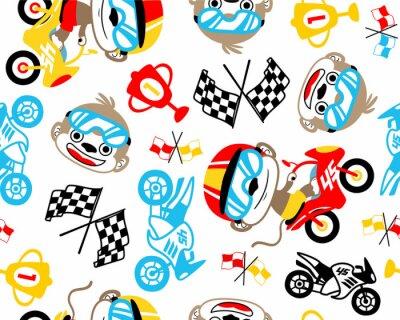 Tapeta Bezszwowy deseniowy wektor z śmieszną motorowego setkarza kreskówki ilustracją. Eps 10