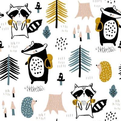 Tapeta Bezszwowy dziecięcy wzór z turystycznym szop pracz z bobrem w lesie. Kreatywne lasy dla dzieci do tkanin, opakowań, tekstyliów, tapet, odzieży. Ilustracji wektorowych