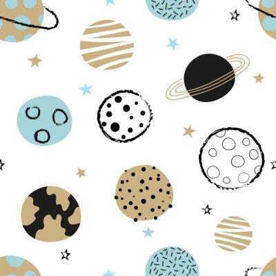 Tapeta Bezszwowy dziecinny przestrzeń wzór z doodle planetami.
