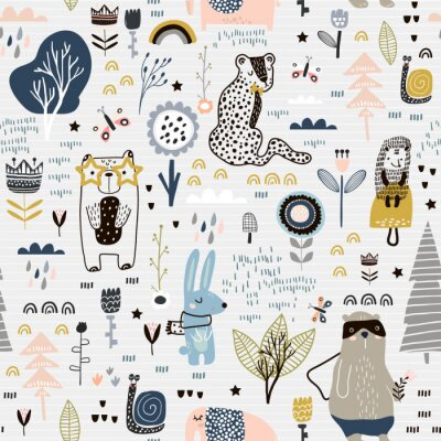 Tapeta Bezszwowy dziecinny wzór z czarodziejskimi kwiatami, niedźwiedziem, królikiem, lampartem, jeż. Kreatywnie dzieciaka miasta tekstura dla tkaniny, opakowania, tkanina, tapeta, odzież. Ilustracji wektoro