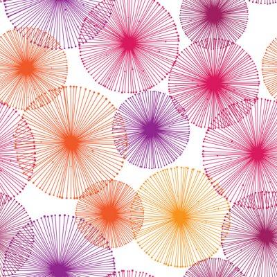 Tapeta Bezszwowy kolorowy wzór z dandelions na białym tle. Wektorowa wielostrzałowa tekstura.