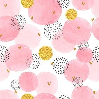 Tapeta Bezszwowy kropkowany wzór z różowymi i złotymi okręgami. Wektorowy abstrakcjonistyczny tło z akwarela kształtami.