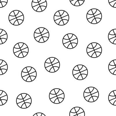 Tapeta Bezszwowy minimalistyczny wzór koszykówki w czerni i bieli brzmieniu odizolowywającym na białym tle, sporta wyposażenia wektoru tapeta dla tekstylnego druku, strony wypełnienie, powtarzający tło.