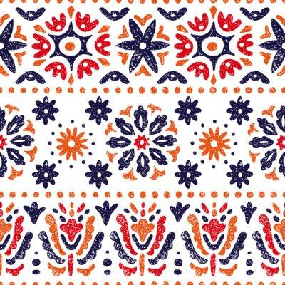 Tapeta Bezszwowy rocznika wzór. Poziome linie na białym tle. Abstrakcja, kwiaty, motywy etniczne i plemienne. Ilustracji wektorowych.