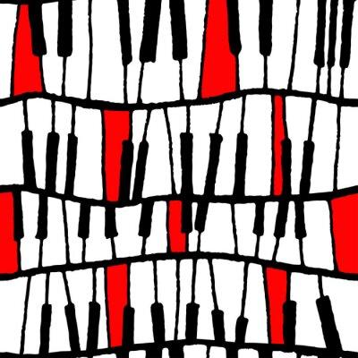Tapeta Bezszwowy wektorowy fortepianowy wzór w czarny i biały i czerwony dla zawijać, rzemiosło, tkanina, ceramiczna