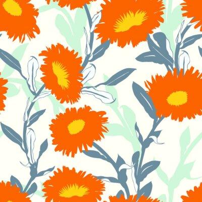 Tapeta Bezszwowy wektorowy kwiecisty wzór z dużymi śmiałymi kwiatami