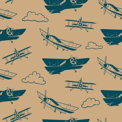Tapeta Bezszwowy wektoru wzór z rocznika samolotem
