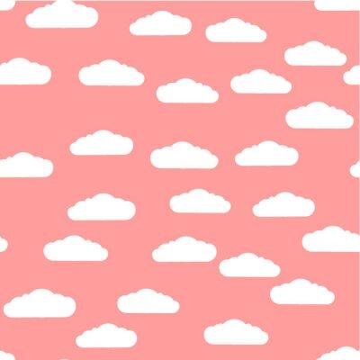 Tapeta Bezszwowy wzór. Chmury. Białej chmury wzór, różany tło. Wektor, płaska ilustracja.