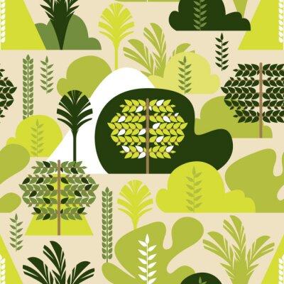 Tapeta Bezszwowy wzór. Drzewa liściaste tropikalne w stylu płaskiej. Ochrona środowiska, lasy. Park, na zewnątrz. Ilustracji wektorowych.