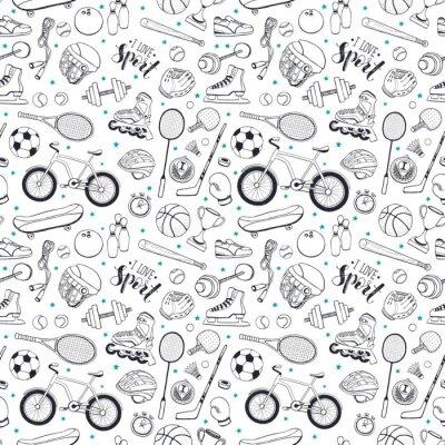 Tapeta Bezszwowy wzór od sporta wyposażenia w doodle stylu. Ilustracji wektorowych. Ręcznie rysowane akcesoria sportowe na białym tle.