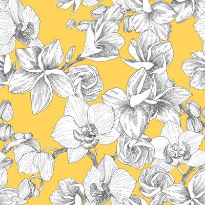 Tapeta Bezszwowy wzór. Ręcznie rysowane kontur bukiet z orchidei i plumeria. Bardzo szczegółowe ilustracji wektorowych. Piękny egzotyczny kwiat. Cymbidium dla Twojego logo, kompozycji, projektu.