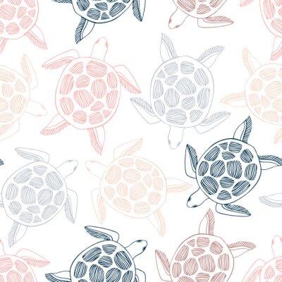 Tapeta Bezszwowy wzór z dennymi żółwiami.