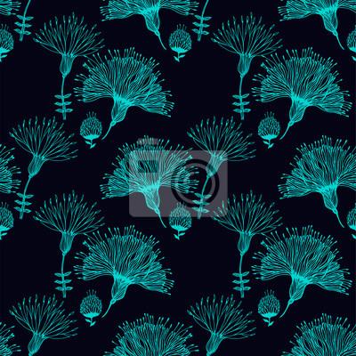 Tapeta Bezszwowy wzór z doodly naiwnymi liniowymi kwiatami.