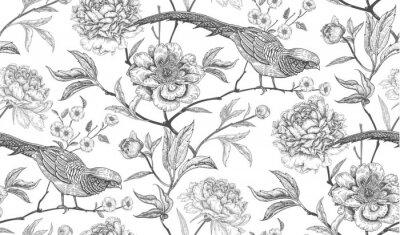Tapeta Bezszwowy wzór z egzotycznymi ptasimi bażantami i peoni kwiatami.