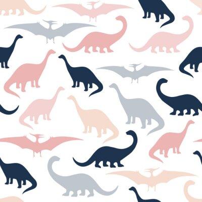 Tapeta Bezszwowy wzór z kreskówka dinosaurami. Do kart, imprez, banerów i dekoracji pokoju dziecięcego.