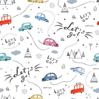 Tapeta Bezszwowy wzór z małymi samochodami i drogowymi znakami na białym tle
