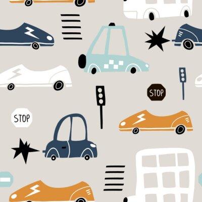 Tapeta Bezszwowy wzór z ręka rysującym ślicznym samochodem. Kreskówka samochody, znak drogowy, ilustracji wektorowych przejścia dla pieszych. Idealny dla dzieci tkaniny, tkaniny, tapety przedszkola