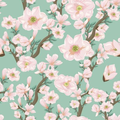 Tapeta Bezszwowy wzór z różowymi kwiatonośnymi gałąź