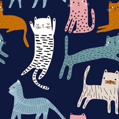 Tapeta Bezszwowy wzór z ślicznymi kolorowymi kotami. Kreatywna dziecinna tekstura. Świetny do tkanin, ilustracji wektorowych włókienniczych