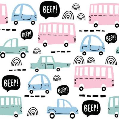 Tapeta Bezszwowy wzór z ślicznymi samochodami