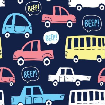 Tapeta Bezszwowy wzór z ślicznymi samochodami na ciemnym tle