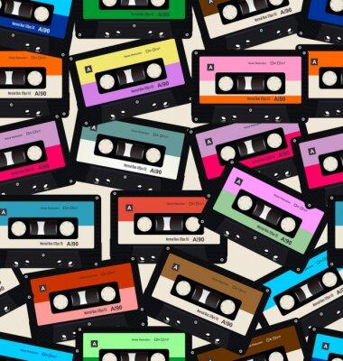 Tapeta Bezszwowy wzór z starych audio kaset kolorowym tłem