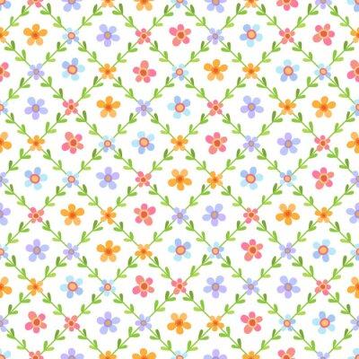 Tapeta Bezszwowy wzór z stubarwnymi kwiatami