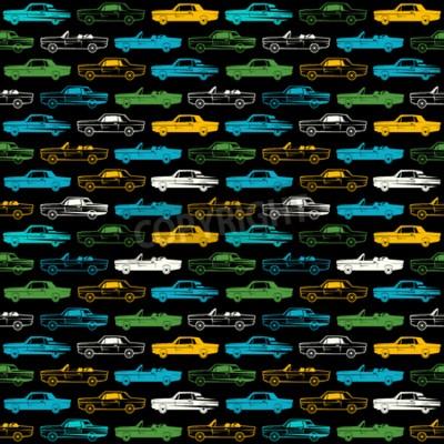 Tapeta Bezszwowy wzór z wizerunkiem retro samochody. Kolor wydruku na czarnym tle