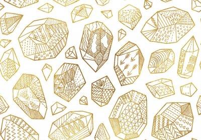 Tapeta Bezszwowy wzór złote dekoracyjne kopaliny, kryształy i klejnoty z ornamentami