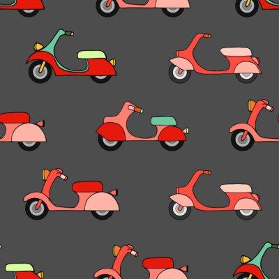 Tapeta Bezszwowych tekstur z kolorowych skuterów