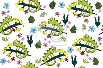 Tapeta Bezszwowych wzór z cute kameleons. Tropikalny ozdoba z jaszczurek i roślin.