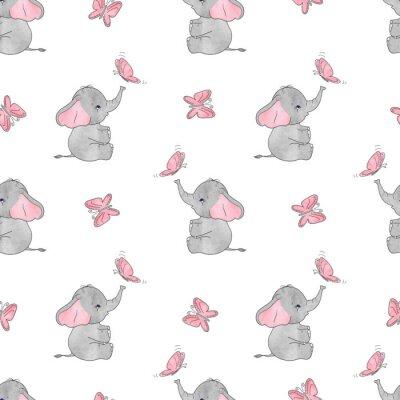 Tapeta Bezszwowych wzór z cute słonie i motyle. Wektor tła dla projektu dla dzieci. Dziecko.