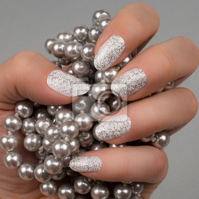 Biały Srebrny Lśniące Paznokcie Manicure Nail Art Kobiet Strony