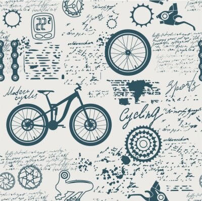 Tapeta Bicycles.Vector abstract seamless pattern on the theme of bikes, adventures and discoveries. Old manuscript with spare parts, and other symbols with blots and stains in vintage style.