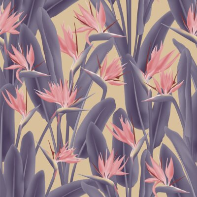 Tapeta Bird of paradise tropical flower vector seamless pattern. Jungle exotic tropical plant fabric design. South African plant tropical blossom of crane flower, strelitzia. Floral textile print.