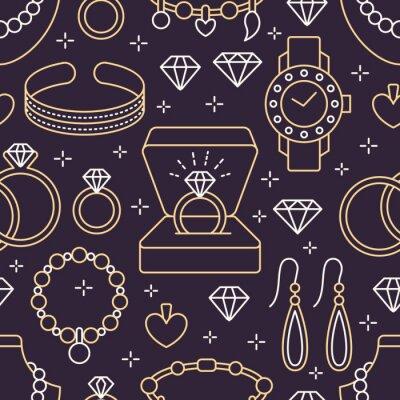 Tapeta Biżuteria bezszwowy wzór, kreskowa ilustracja. Wektorowe ikony klejnotów akcesoria - złote pierścionki zaręczynowe, diament, naszyjniki z pereł, charms, zegarki. Sklep odzieżowy powtórzone tło.