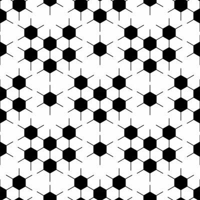Tapeta Black and white hexagon soccer ball seamless pattern, vector