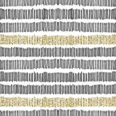 Tapeta Black & Złote Linie Seamless Pattern