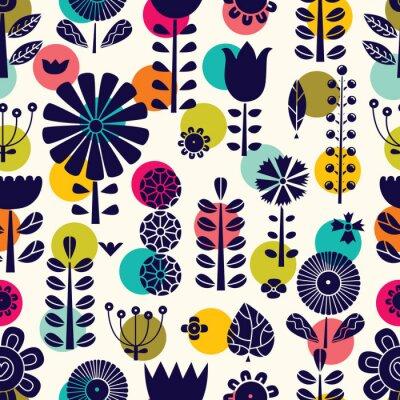 Tapeta Blue flowers in Scandinavian style. Summer motive. Vector seamless pattern.