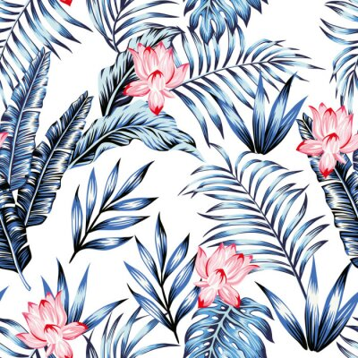 Tapeta Blue tropical leaves pink flowers white background