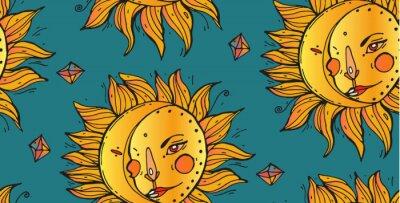 Tapeta Błyszczące Jasny żółty Słońce na Zielonym Tle Bezszwowych. Wzór Wektorowy
