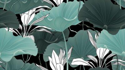 Tapeta Botaniczny wzór, liście lotosu, rośliny i winorośli na czarnym tle