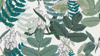 Tapeta Botaniczny wzór, zielone liście na jasnoszarym tle