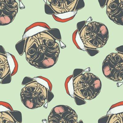 Tapeta Boże Narodzenie Pug pies wektor szwu ilustracji