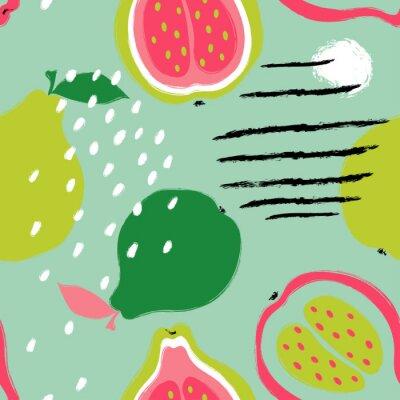 Tapeta Brush Grunge Guava Seamless Pattern.