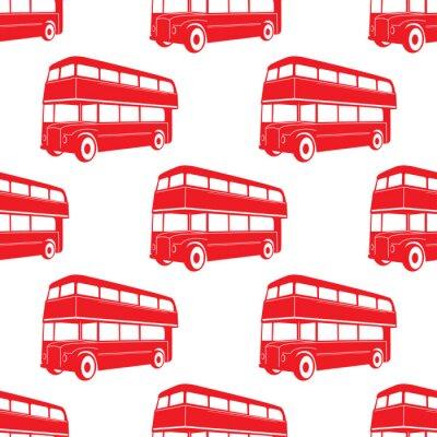Tapeta Brytyjski wzór z Double decker czerwony autobus.