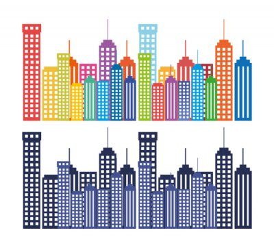 Tapeta budynki miasta ustawić ikonę sylwetka
