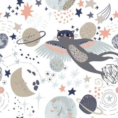 Tapeta Cartoon cosmic background: flying cat in superhero mask, cute planets, moon, shooting stars, galaxy, milky way.